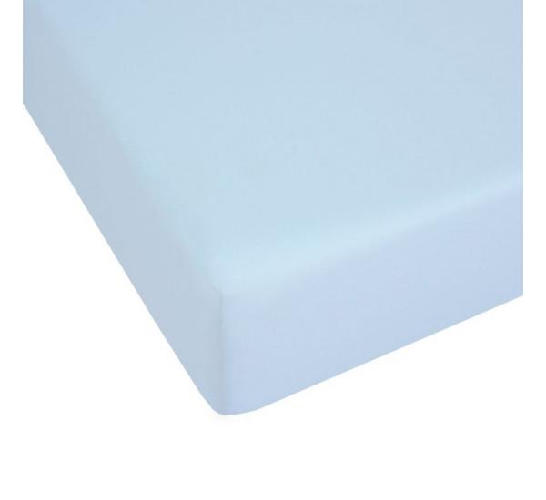 Простыня на резинке трикотажная ГОЛУБАЯ   (120х200)